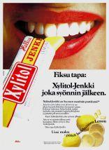 Fiksu tapa: Xylitol-Jenkki joka syönnin jälkeen. Mainoskuva vuodelta 1981.