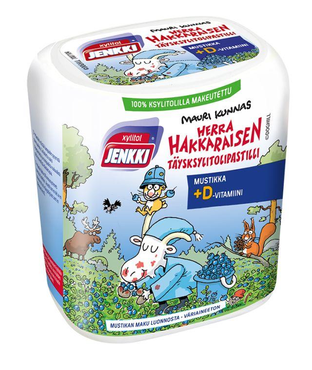 Herra Hakkaraisen täysksylitolipastilli Mustikka+D 45g